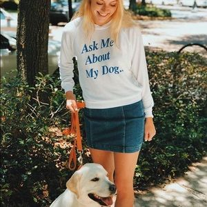 Wildfox White Blue Ask Me About My Dog Pullover M